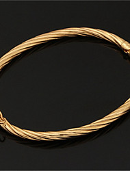 Simple Style Vintage Bangle for Women Men 18K Gold Platinum Plated Bracelet Jewellery High Quality