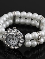 Women's Sun Flower-Shaped Alloy Inlay Rhinestone Imitated Pearl Bracelet Watch White (1Pc) Cool Watches Unique Watches