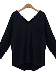 Women's Black Cashmere/Pullover , Casual/Plus Sizes Long Sleeve