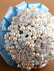 fleurs d'alliage&perles de nacre avec bouquet ruban de mariage