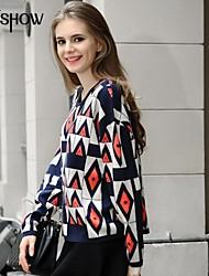 mode col rond vintage pattern manches longues, plus lâche occasionnels taille chandail de mishow®women