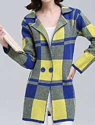 Women's Fashion  Step Collar Loose Cardigan Grid Outerwear (More Colors)