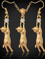 Cute 18K Gold Plated Platinum Cute Kitty Cat Pendant Earrings Rhinestone
