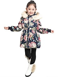 Girl's Fur Collar Flower Foral Print Elastic Waist Long Sleeve Hoodie Cotton Paddad(Button&Flower Random)