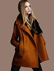 SSMN Women's Tweed Long Sleeve Slim-Fitting Coat