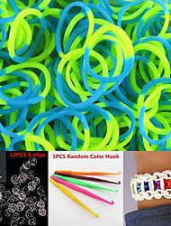 600PCS Green&Blue 2-Segment DIY Twistz Silicone Rubber Bands for Rainbow Loom Bracelets with Hook&S-clips