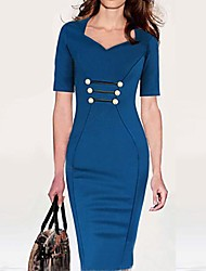 Women's Vintage Blue/Purple/Red V Neck ½ Length Sleeve Midi Dress