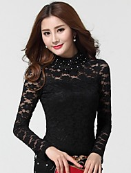 Women's Lace Pink/Black Blouse , Crew Neck Long Sleeve