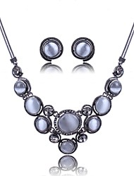 Women's Europe All Match Round Opals Jewelry Set(Including Necklaces Earrings)
