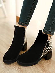 Women's Shoes Platform Round Toe Chunky Heel Leather Ankle Boots with Zipper More Colors available