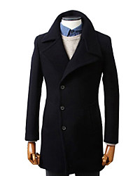 Men's Fashion Lapel Neck Solid Color Bodycon Wool Coat