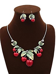 Senlan Women's  A Set of Red Cherry Cute Necklace And Earring