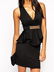 Women's   Black Deep V Ruffle Peplum Dress with Metal Plate
