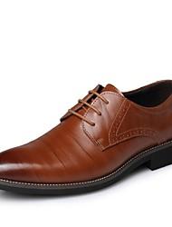 Черный / Синий / Коричневый / Желтый Мужская обувь Для офиса / На каждый день Кожа Оксфорды