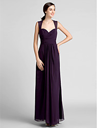 Floor-length Chiffon Bridesmaid Dress Plus Sizes Sheath/Column Sweetheart