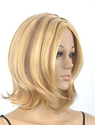 Women's Medium Length Straight Brown with Blonde Short Wig