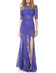 vestido largo de encaje de flores Haoduoyi (azul)