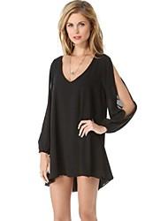 mini vestido de las mujeres v profunda, gasa azul / blanco / negro / más casuales tamaños