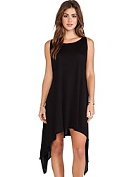 Women's Solid Black Dress , Casual/Work/Plus Sizes Round Neck Sleeveless