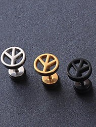 European Fash Peace Symbol  Titanium Steel Stud Earrings(Black,Silver,Gold) (1 Pc) Christmas Gifts