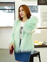 Fur Coats Fur Jacket Nice Thick Long Sleeve Collarless Faux Fur Jacket
