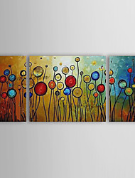 Hand-painted Abstract Oil Painting with Stretched Frame - Set of 3