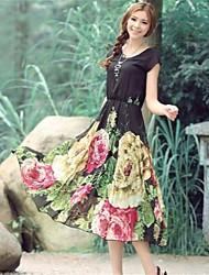 vestido estampado de flores bainhas das mulheres (mais cores)