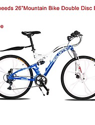 "24 Speeds SHIMANO 26""X17"" SLM™ Disc Brake Mountain Bike 6 Spokes Flat Tire Fork Shock Absorption"