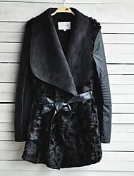 Women Lamb Fur/Faux Fur/PU Outerwear , Belt Included