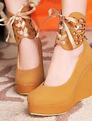 Damenschuhe Plattform runde Kappe Keilabsatz Pumpen Schuhe mit Spitzen-up mehr Farben erhältlich