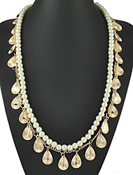 Vintage Bohemia Double Layers Pearls And Leaves Long Strand Necklace
