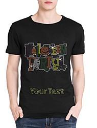 strass personalizado T-shirt do dia das bruxas partido fantasma mangas curtas de algodão dos homens padrão