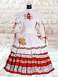 Sweet Lady Long Sleeve Knee-length Red and white Cotton School Lolita Dress