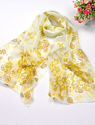 Faln Women's Fashion Chiffon Scarf with Flower Pattern