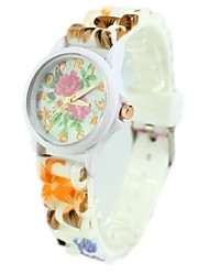 Women's Casual Watch Quartz Silicone Band Cartoon Flower Multi-Colored