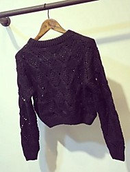 Women's Round Collar Diamond Weave Loose Sweater