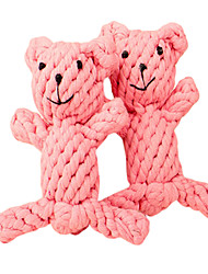 Little Pink Bear Shape Handmade Rope Pets Toy