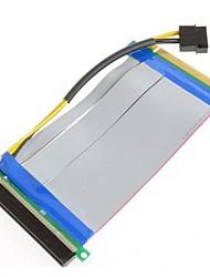 PCI-E 16x 16x expriment riser carte d'extension avec une puissance de molex ide&câble ruban de 20 cm