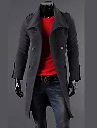 fazo meados longo moda double breasted casaco de marinheiro (cinza, preto)