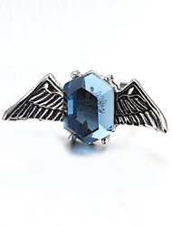 Fashion Blue Gem Wing Rings