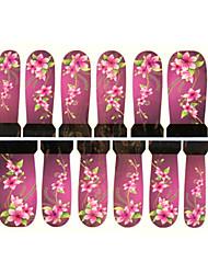 12шт цветочным узором фиолетовый водяные знаки ногтей наклейки c7-011