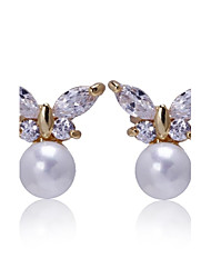Woman's Fashion gold Color Zirconia Crystal Pearl Zircon Earrings