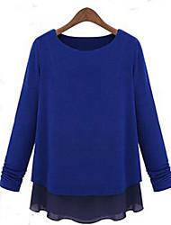 De coco zhang vrouwen ronde hals chiffon lange mouw blouse