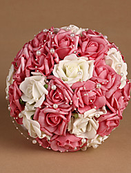 "Wedding Flowers Round Roses Bouquets Wedding Satin Pink / As Picture 8.66""(Approx.22cm)"