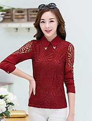 Women's Solid/Lace Red/White/Black Blouse , Shirt Collar Long Sleeve Lace