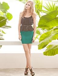joannekitten® correas de las mujeres de cuello bodycon vestido falso de dos piezas estilo
