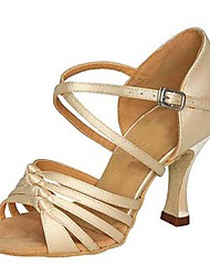 Non Customizable Women's Dance Shoes Latin Satin Stiletto Heel Brown/Pink/Other