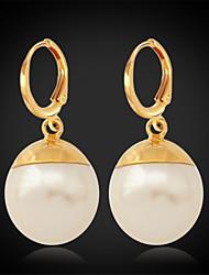 grandes das mulheres de alta qualidade pérolas sintéticas talão brincos pendurados ouro 18k chapeado presente da jóia para as mulheres