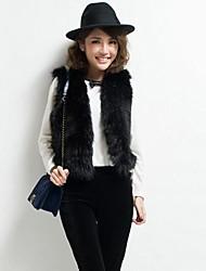 imitation d'hiver faux vêtements de fourrure gilet femme