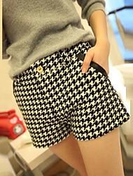 yiqi® Frauen Check Wolle dünne kurze Hose